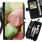 FJCases Marshmallow Süßigkeiten Handschlaufe und Reißverschluss Hülle Schutzhülle für Samsung Galaxy A3 (2016)
