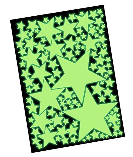 100 Leuchtende Sterne Set XXL - Wandtattoo Leuchtsterne Fluoreszierend, Wandsticker Nachtleuchtend - Glow im Dunkeln, Leuchtaufkleber, Sternenhimmel Wandaufkleber - Selbstleuchtend hohe - Für Kid Jungen Badezimmer-sets