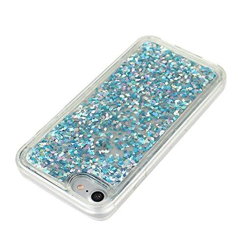 Coque Apple iPhone 7 Case en silicone, Rosa Schleife iPhone 7 Housse de Protection Transparente Gel résistante Silicone Coque Mince Souple TPU 3D Liquid Cristal Clair Bumper Swag Glitter Bling Shiny B Bleu