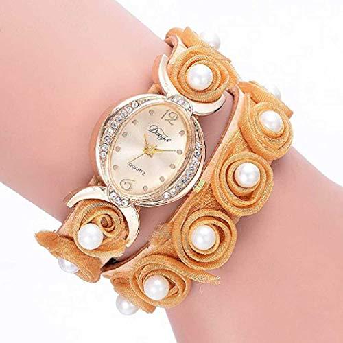 Frauen Uhren,Moeavan Womens ArmbandUhren Clearance Analog DamenUhren Mädchen Uhren Leder Frauen Uhren (Gelb)