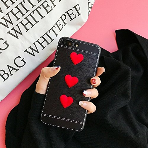Wkae Red Heart Full Coverage Schutzhülle für iPhone 7 Plus ( Color : Pink ) Black