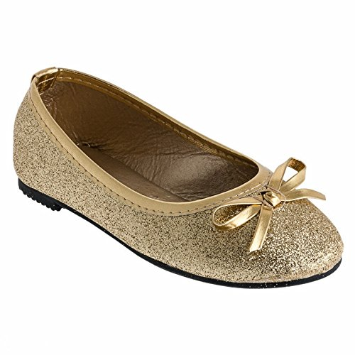 Festliche Mädchen Ballerinas Schuhe Glitzer Schleife in Vielen Farben M527go Gold 26