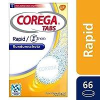 COREGA Reinigungsstabs Rapid für Zahnersatz/dritte Zähne, 1x66 Gebissreinigungstabletten, Reinigung in 3 Minuten