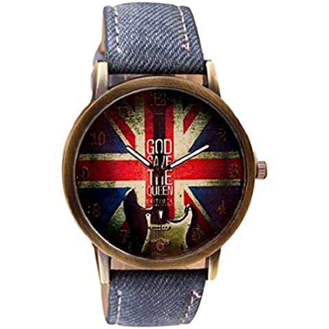 Tongshi de cuero patrón de cuarzo analógico banda relojes de pulsera Vogue (Azul oscuro)