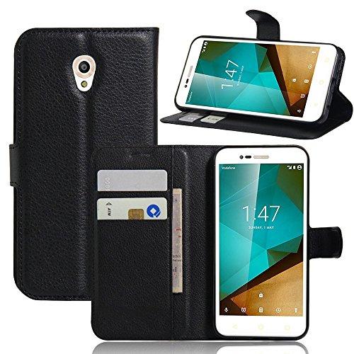 Tasche für Vodafone Smart Prime 7 Hülle, Ycloud PU Ledertasche Flip Cover Wallet Case Handyhülle mit Stand Function Credit Card Slots Bookstyle Purse Design schwarz