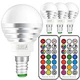 E14 led warmweiss | Led rgbw Lampe mit Fernbedienung | 3W(ersetzt 30W) Dimmbare Birne mit RGB und Warmweiß(2700 Kelvin) | für ambiente Beleuchtung Party Deko
