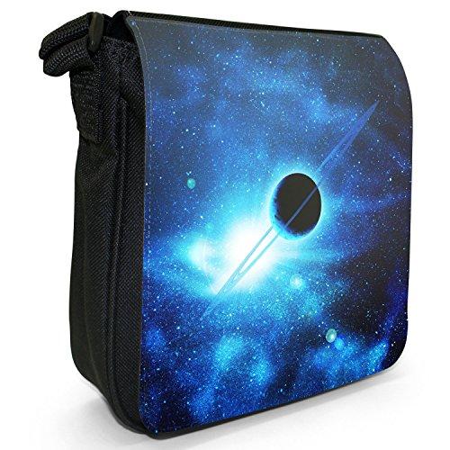 Esplorazione dello Spazio sacchetto di tela borsa a tracolla colore Nero Taglia S Saturn In Blue Space