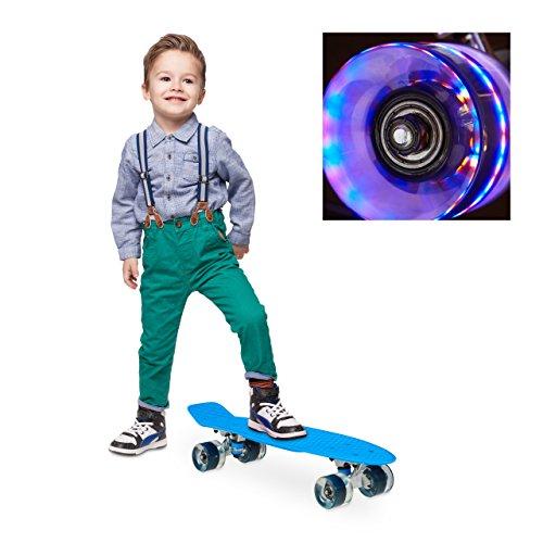 Relaxdays Skateboard LED für Kinder, 22 Zoll Mini Cruiser mit Leuchtrollen, ABEC 7 Alu-Trucks mit Gummi Wheels, blau
