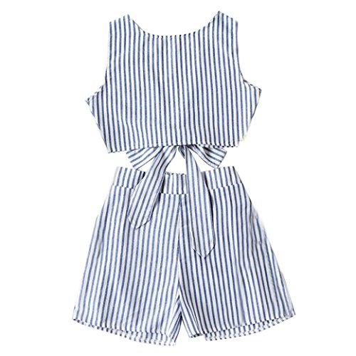 VENMO Frauen Sets Kleider Cabriolet Vertical Striped Bow Tie Crop Top mit Shorts (Blue, S) Striped Bow Tie