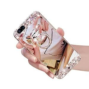 Custodia iPhone 7 Plus, iPhone 7 Plus Cover, Bonice Lusso Glitter Bling Cristallo Diamante Strass [Rotazione Grip Ring Kickstand] Morbida Bordo in Silicone Posteriore a Specchio Telefono con Supporto Dell'anello Case Cover per iPhone 7 Plus - Argento