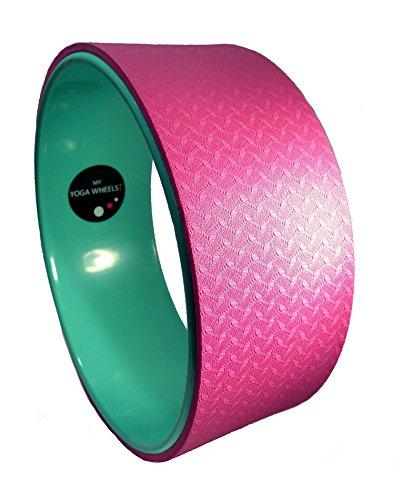 MyYogaWheels UK Yoga Rad,verbessert Balance, Rückenflexibilität, Asana- + Inversion-Streckung, Pilates-Biegungen, löst tiefe Gewebespannung,Physio-Massage zum Öffnen des Brustkorbs, Rückens, Hüfte + Schultern, Herren, Green + Pink
