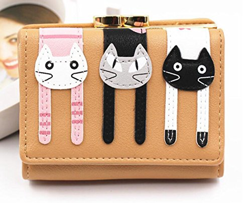 Cute Cat femminile Coface Portafoglio borsa Bifold corto con cerniera blu Brown