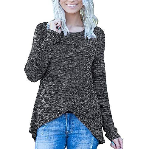 OSYARD Damen Unregelmäßige Sweatshirt Rundhalsausschnitt Langarmshirts, Frauen Casual -