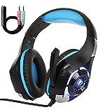 Auriculares Gaming, Cascos Gaming con Microfono y Luz LED,Auriculares de Diadema con Sonido Envolvente y Cancelacion Ruido Headset