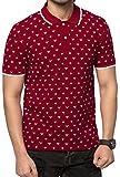 ZEYO Men's Cotton Printed Red Polo Tshirt Half Sleeve