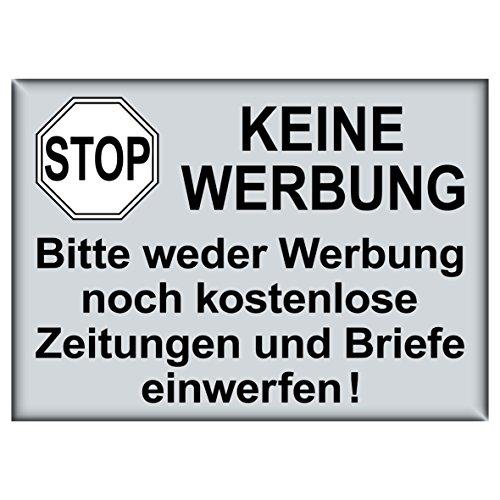 Preisvergleich Produktbild Aufkleber Sticker 7,4cm x 5,2cm Stop Keine Werbung UV-beständig für Briefkasten Weder Reklame noch kostenlose Zeitungen einwerfen (1)