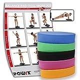 POWRX Balance Pad Deluxe Oval inkl. Workout I Ganzkörpertraining gelenkschonend für Gleichgewicht Stabilität Koordination I Hautfreundliches TPE 28 x 17 x 6 cm I Versch. Farben