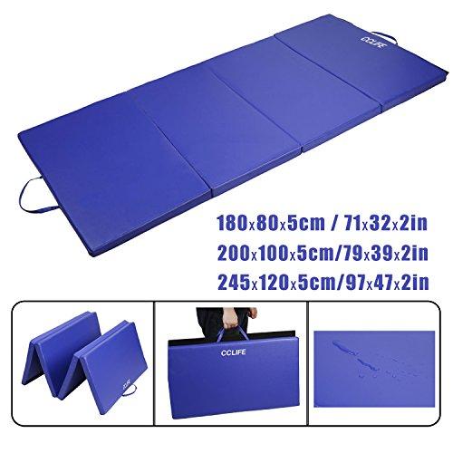 faltbare gymnastikmatte CCLIFE Blau Weichbodenmatte Turnmatte Tragbar Klappbar Gymnastikmatte Yogamatte Fitnessmatte 180x80x5/ 200x100x5/ 245x120x5 cm Großauswahl, Größe:200x100x5cm