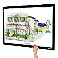 AGPTEK- A2 LED ışığı tablo, büyük ışık paneli A2 Ultradünne çizim masası, kısılabilir ve titreşimsiz tasarım, boyama 2D animasyon, kaligrafi, kabartma, çizim ve dövmeler için mükemmel