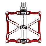 gutang-dc Pedal de pedales de bolas de aluminio bicicleta pedales para Bicicleta de montaña BMX pedales una par, rojo
