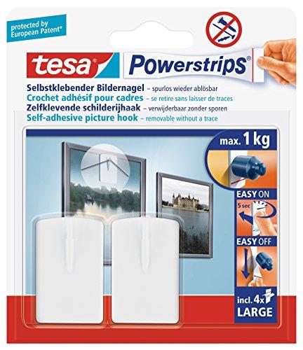 tesa Powerstrips Bildernagel, selbstklebend, weiß, 2 Stück