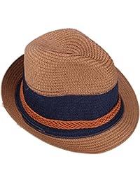 YOPINDO Cappello Stile Fedora di Paglia Stile Panama Cappello Unisex con  Visiera Ampia e Pieghevole 48a26bebe006