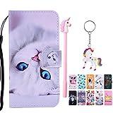 E-Mandala Samsung Galaxy S5 Hülle Leder Weiße Katze Flip Case Wallet Cover Tasche handyhüllen Schutzhülle Lederhülle mit kartenfach klapphülle Handytasche