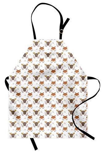 Tiere Schürze, Repetitive Forest Baby Fox und Elch und Blumendetails, Unisex-Küchenschürze mit verstellbarem Hals zum Kochen Backen Gartenarbeit, Kakao dunkel sandbraun blass Rost ()