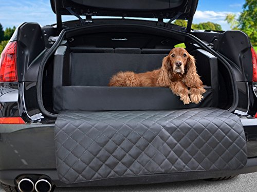Schwarzer Kunstleder-polsterung (Travelmat PLUS Kofferraum Hundebett fürs Auto STANDARD Kunstleder Schwarz 90 x 70cm)