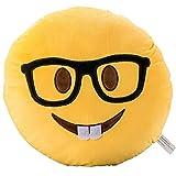 Nerd Face Emoji Soft Stuffed Plush Cushion Pillow - 35x35x8cm Large Emoticon Pillow - Gift for Boys, Girls, Kids & Children