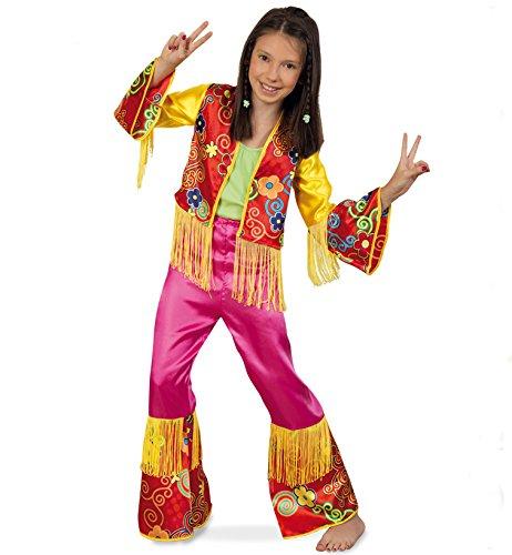 KarnevalsTeufel Hippie Girl, Zweiteiliges Outfit für Kinder mit Fransen, 60er ()