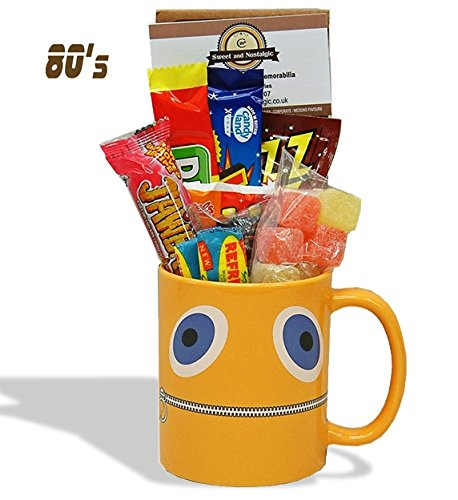 'Zippy' Face Mug with a choc full portion of 1980's retro sweets.