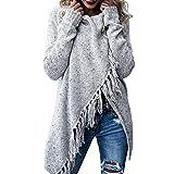 Damen Pullover Felicove, Quasten Schal Mantel Tops Strick Oversized Pullover