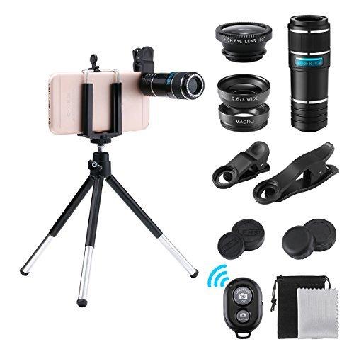 Handy Objektiv, GLISTENY 4 in 1 Objektiv Set, 12X Teleobjektiv+ 180 Grad Fisheye Objektiv+ 0.67X Weitwinkel+ Makroobjektiv mit Bluetooth Remote Shutter Mini-Stativ Perfekte für Single-Lens Smartphone