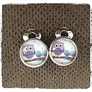 Ohrclips Eulen Glas-Cabochon 10mm Motiv Kinder Ohrringe Mädchen Eulen-Familie versilbert Eule handmade Schmuckphantasien Ohrklemme