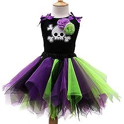 Sronjn Halloween Vestido de Tutú Encaje Traje de Fiesta Princesas Dress sin Mangas Estilo 3 3XL