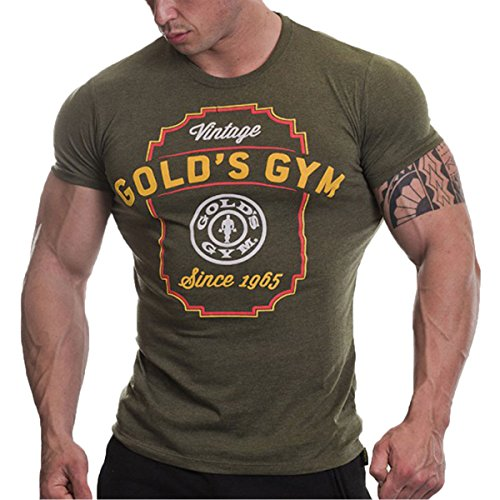 Gold 's Gym Vintage 1965 T-Shirt, hombre, Army Marl, Medium
