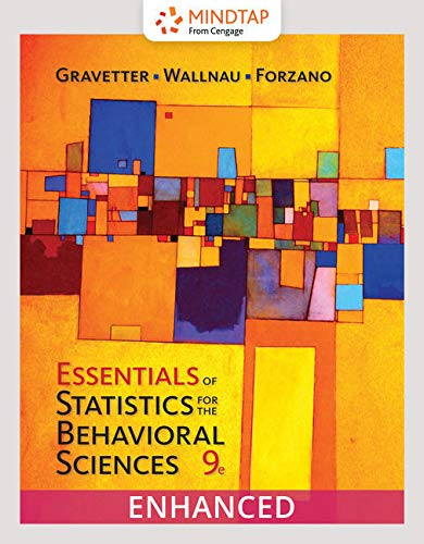 MindTap Psychology, 1 term (6 months) Printed Access Card, Enhanced for Gravetter/Wallnau/Forzano's Essentials of Statistics for the Behavioral Sciences (Card Access Psychologie Mindtap)