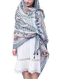 Chal de Gasa - BienBien Bufandas Tartan Mujer Pañuelo Etnico Estampado Vestido Sarong Pareo Traje de Baño de Verano Bikini Cover Up Talla Grande