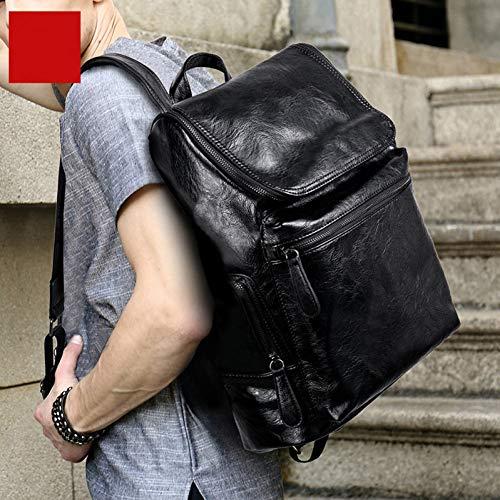 WMYQQLX Rucksack Computer Tasche 15,6 Zoll Laptop Pu Leder Rucksäcke Für Männer Rucksäcke Jugend Reise Schulbuchtasche -