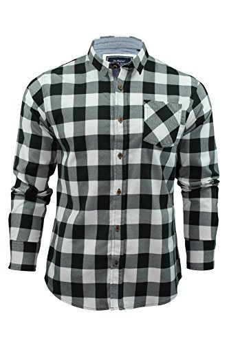 Camicia Uomo da coraggiosi Anima spazzolato flanella Controllare Maniche lunghe (Bianco nero) S