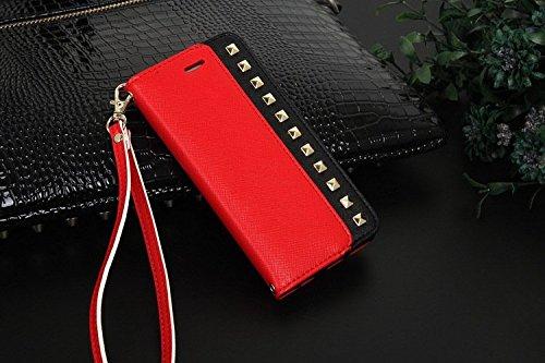 Pour iPhone 6 Plus/6s Plus Coque, iNenk® Rivets PU Portefeuille Cuir Cordon Téléphone Coque Chaîne Couverture Housse protection Sets Pour femmes-Bleu rouge