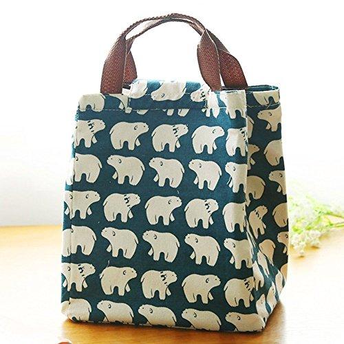 Casadeiy Leinwand Cool Bag Lunch Box Einkaufstasche Picknick BBQ Food Carrier Reise Schule Büro Mittagessen Tragetaschen (Eisbär)