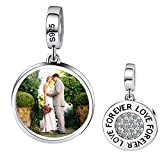 Moonlove Personalized S925 Sterling Silver Charm, Crystal Heart Photo Dangle Charms Beads Custom Your Own Picture Memorial Story Charm Pendant Fit Pandora Troll Bracelet Necklace