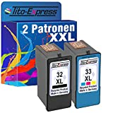 PlatinumSerie® Farbset 2x Tinten-Patrone für Lexmark 32 XL & 33 XL Z810 X 3380 X5200 X 5210 X5250 X 5260 X5270 X 5400