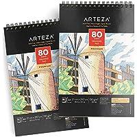 ARTEZA Grand cahier dessin A4 (21,0 x 29,7 cm   2 carnets avec 160 feuilles en tout   Carnet croquis de 80 pages   Papier sans acide haut grammage 130 g/m2   Carnet dessin reliure spirale