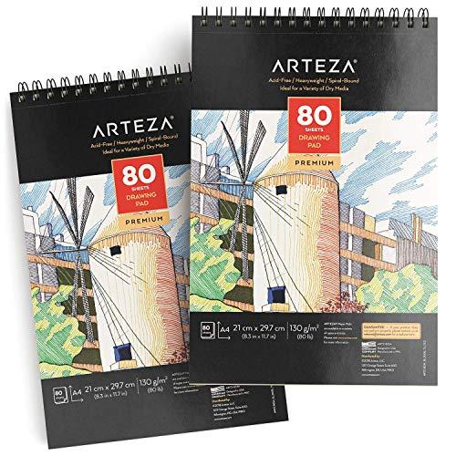 ARTEZA Zeichenblock DIN A4 | Malblock mit Spiralbindung | Weißes 21.0x29,7 cm Zeichenpapier | 80 Blätter 2er-Set