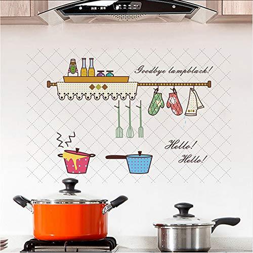 (Hjcmhjc) Cartoon Küche Muster Anti-Öl Küche Wandaufkleber Antifouling Dekoration Wandtattoo Tapete Küche Fliesen Aufkleber