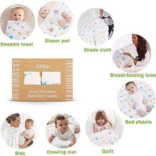 Pucktücher aus Bambus 2er Pack, 120 x 120 cm, Gemütlicher Tierparadies, Perfekt für Swaddle Blanket, Puckdecke, Spuckdecke, Wickeltuch