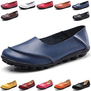 Hishoes Damen Casual Mokassin Leder Loafers Fahren Flache Schuhe